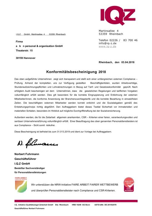 re-zertifizierung 2018 für herausragende zeitarbeit! | a│b│n ...