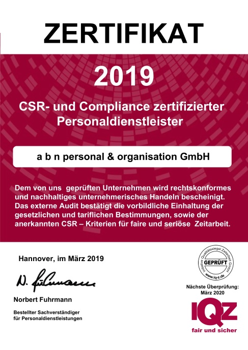Zertifikat abn 2019